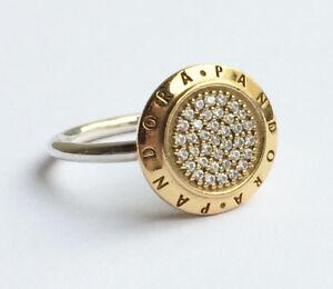 Genuine-Pandora-Signature-Silver-Ring-Heavily-14K-Gold-Plated-190912CZ-Genuine