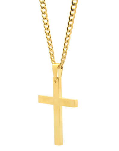 """Mens Stainless Steel Gold Plated Cross Plain Pendant 24/"""" Cuban Necklace Chain"""