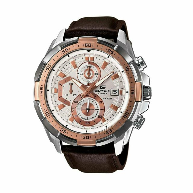 f45d12bb1 Casio Mens Edifice Chronograph Watch EFR-539L-7A Round Face Leather Brown  Analog