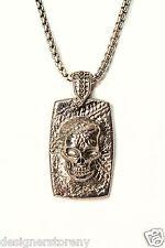 Stephen Webster Highwayman Sterling Silver Dog Tag Pendant Skull w/chain