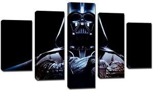 Quadro Moderno 5 Pezzi Cm 166x90 Stampa su Tela Star Wars Guerre Stellari Darth