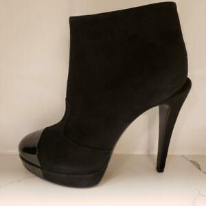 a3252b27cb63a CHANEL 11A Suede Patent Leather Cap Toe Platform Ankle Booties Boots ...