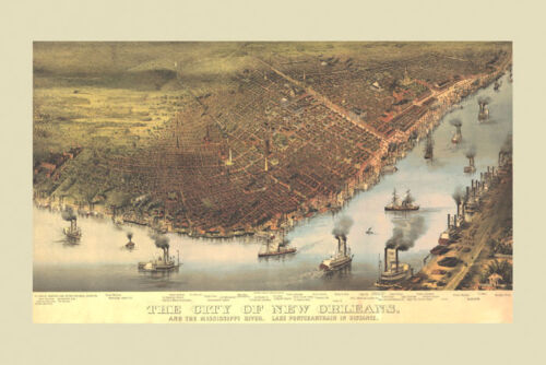 New Orleans Map 1800/'s Bird/'s Eye View Vintage Poster Repro FREE S//H
