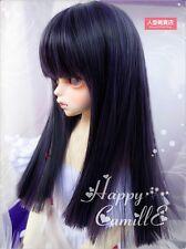 BJD Doll Hair Wig 7-8 inch 18-20cm Black grey Blue 1/4 MSD DZ DOD LUTS