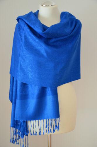 Pashmina Schal Stola Paisley 55/% Polyacryl /& 45/% Viskose Royalblau ca.180x70cm