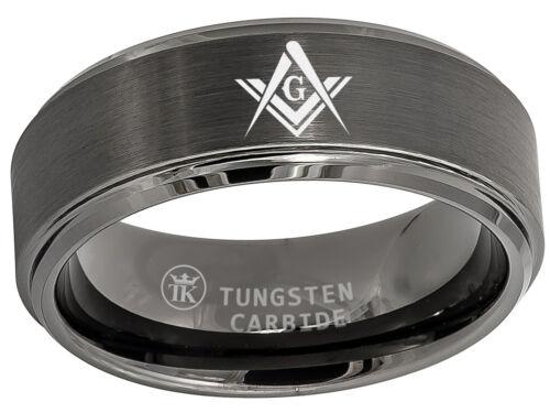 Gunmetal Ion-plated Brushed Masonic Compass Freemason Stepped Tungsten Ring 8mm