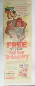 Kellogg's Cereal Ad: Yogi Bear Free Dell Comic! From 1961 Size: 7.5  x 22 inches