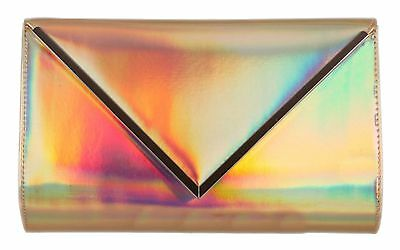 Womens Patent Holographic Clutch Bag Glossy Glitter Shimmer Glitz Evening Bag
