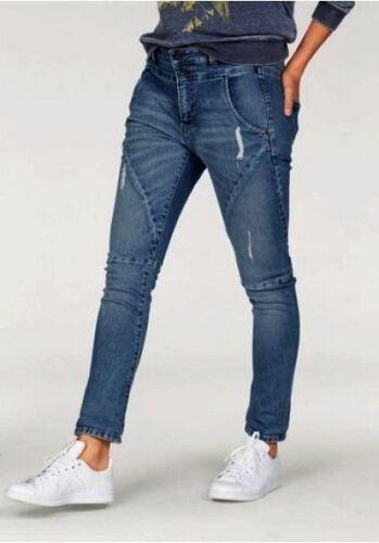 Pepe Jeans London Topsy NEU Blau Used Tapered Fit Damen Hose Stretch Denim L32