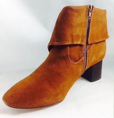 Large Size Ladies EVANS Tan Suede Foldover Tassel Boots Size UK 9EEE PLUS SIZE