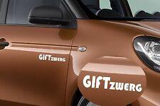 2x Giftzwerg Mercedes Smart  Auto Aufkleber Sticker Schrift Deutschland