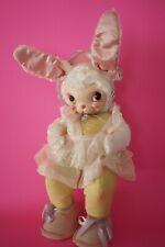 "50s 60s Rare RUSHTON Bunny Rabbit 24"" Plush Dress Star Creations Rubber Face"