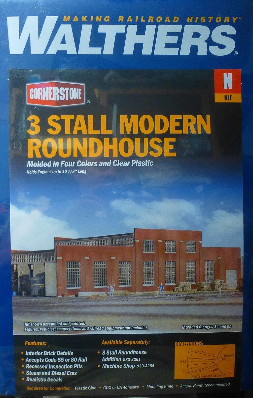 Walthers N  933-3260  3 Stall Modern Roundhouse Kit  Plastic kit