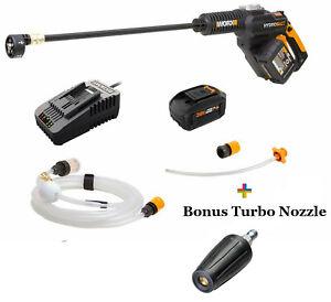 WG630 20V Hydroshot Portable Cleaner w/ Brushless Motor + Free Turbo Nozzle