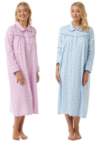 Ladies long sleeve 100/% cotton warm nightdress nightwear in 5 sizes two colours