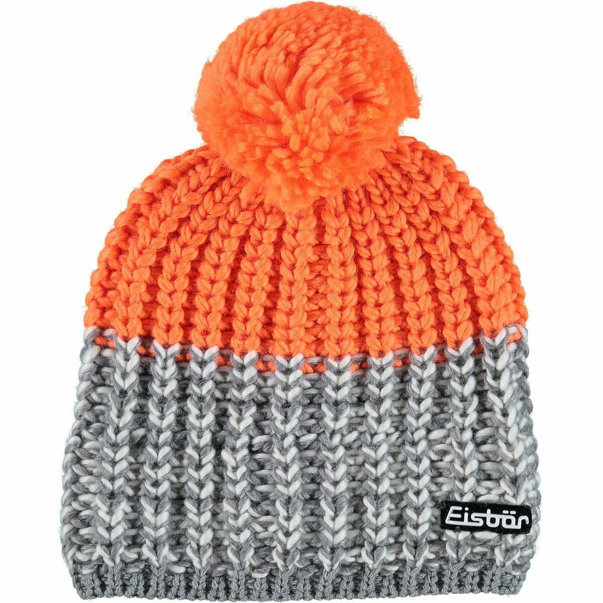 EISBAR Focus Pompon Ski Winter Beanie Hat Merino Wool - Grey orange - Adult Size