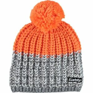 cba5bcf3350 EISBAR Focus Pompon Ski Winter Beanie Hat Merino Wool - Grey Orange ...