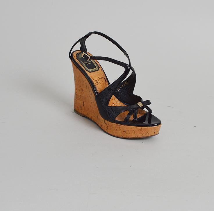 Christian Dior Patent Leather Wedge Sandals - Dimensione 36.5 36.5 36.5 c98da0
