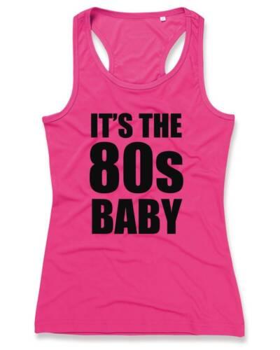 IT/'S THE 80s BABY Ladies Sports Vest 8-16 80/'s Party Fancy Dress Pink T-Shirt