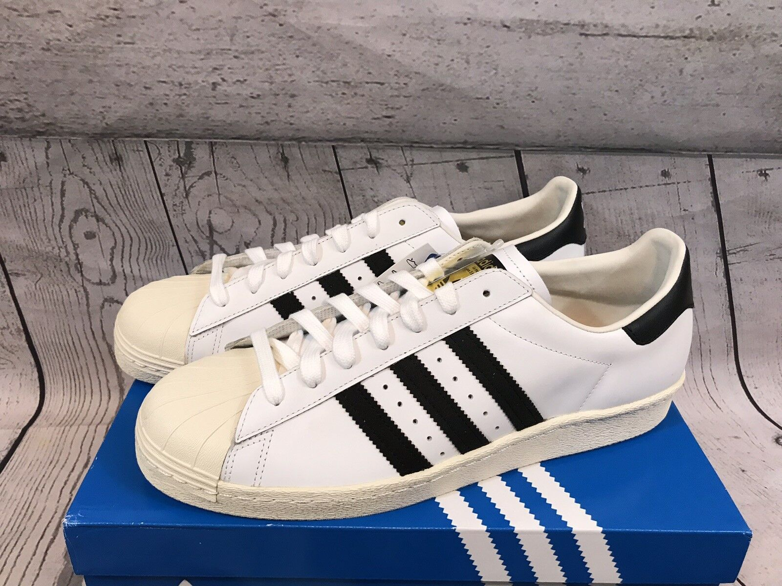 Adidas Originals Mens White Black Superstar 80s Sneakers shoes Size 13 NWT