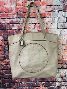 Coach-Laura-F18336-Taupe-Leather-Large-Tote-Carryall-Women-039-s-Shoulder-Bag