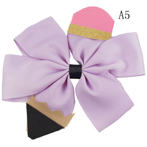 "5/"" Pencil Print Hair Bows Barrettes Glitter Handmade Hairclips TOs"