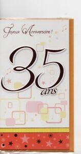 Carte Joyeux Anniversaire 35 Ans Carte Double 10 5x 19 Cm Environ Ebay