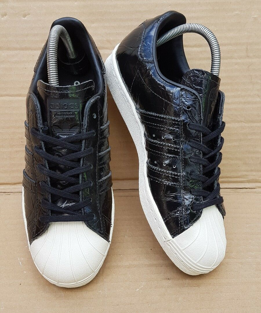 ADIDAS SUPERSTAR 80'S EFFECT TRAINERS BLACK PATENT CROC EFFECT 80'S IN SIZE 5 UK MINT 782f18