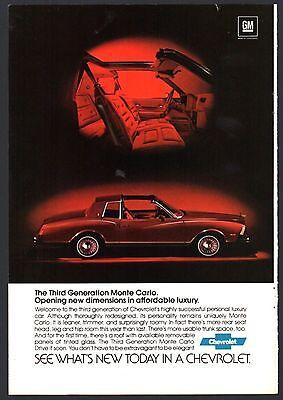 Chevelle SS 1970 CHEVROLET Monte Carlo SS Vintage Original centerfold Print AD