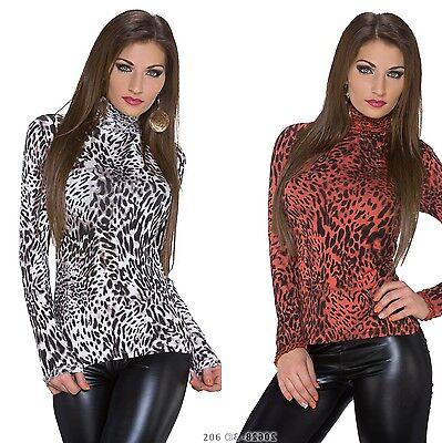 Basic Shirt Bluse Top LeoPrint Talliert Langarm Pullover Rollkragen 36/38