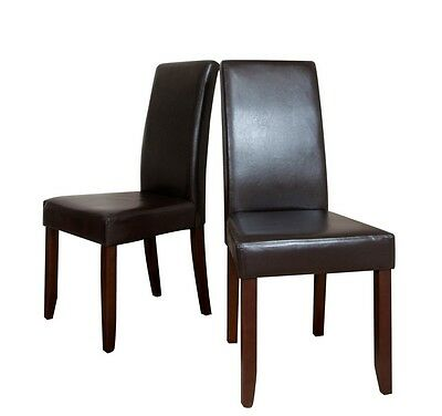 Simpli Home Acadian  2 Pack Brown Faux Leather  Parson Chair