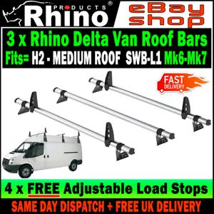 Ford Transit Roof Rack Bars 2000-2014 SWB Medium Roof 3 x Rhino Delta Roof Bar