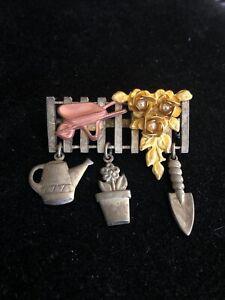 Vintage-Faux-Pearl-amp-Enamel-Gardening-Gold-Tone-Dangle-Brooch-Pin