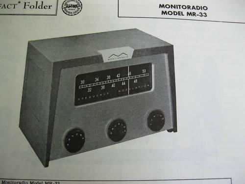 MONITORADIO MR-33 RECEIVER PHOTOFACT