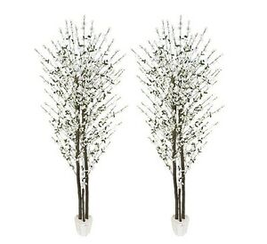 2 Cherry Blossom 7 Real Wood Artificial Trees Potted W Ebay