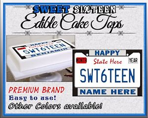 License Plates Sweet Sixteen Birthday Cake Topper Edible