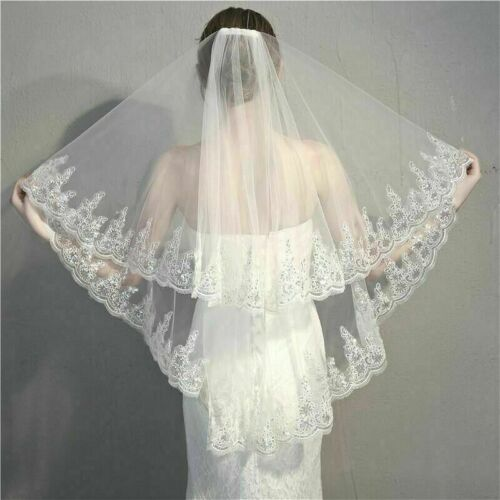 """Gorgeous Ivory White 2 Layer Trimmed in Sequins 36/"""" Fingertip Elbow Wedding Veil"""