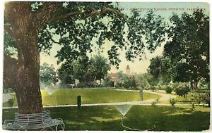 Postcard Man Sprinklers Park Constitution Square Stockton California CA 1900's