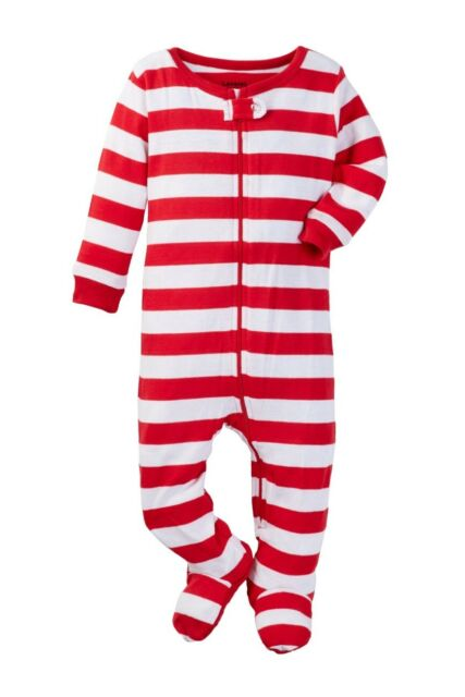 6M-5Y Leveret Baby Boys Girls Christmas Red /& Green Striped Footed Pajamas