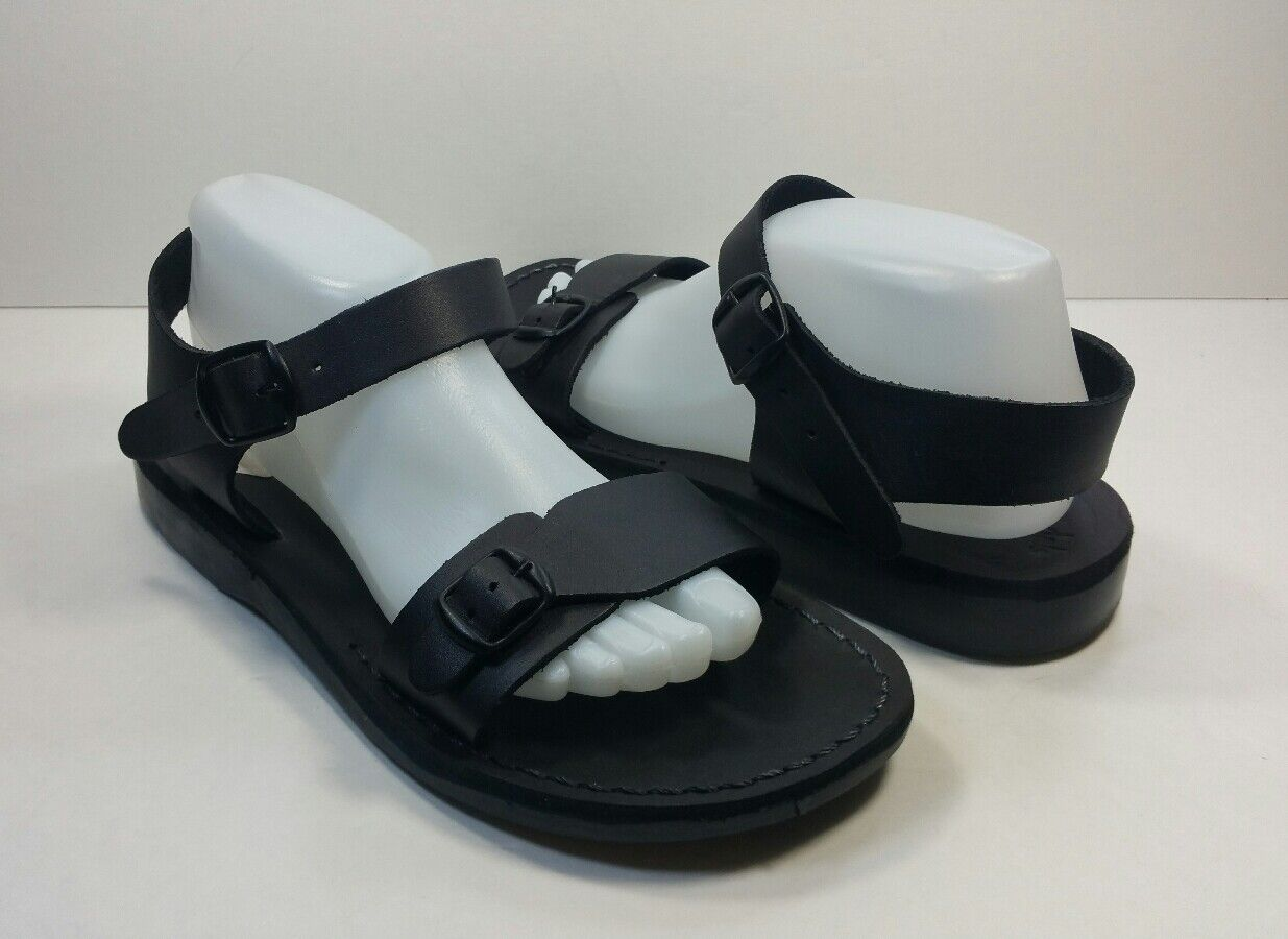 Jerusalem Sandals Handmade Women's Black Buckle Straps - Size Eu 41
