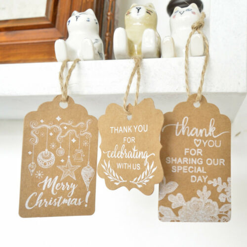 25X Thank You Christmas Custom Label Greeting Card DIY Xmas Gift Label Price Tag