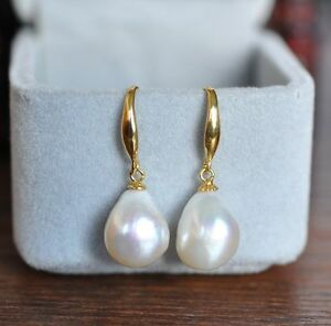 AAA-12-10mm-South-Sea-White-Baroque-Pearl-Earrings-14K-YELLOW-GOLD