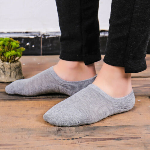 5-10 Pairs Mens Cotton Loafer Invisible Low Cut Boat Terry Socks Nonslip Breathe