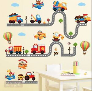 Wall-stickers-animal-truck-world-track-car-Decor-Removable-Nursery-Kids-Baby