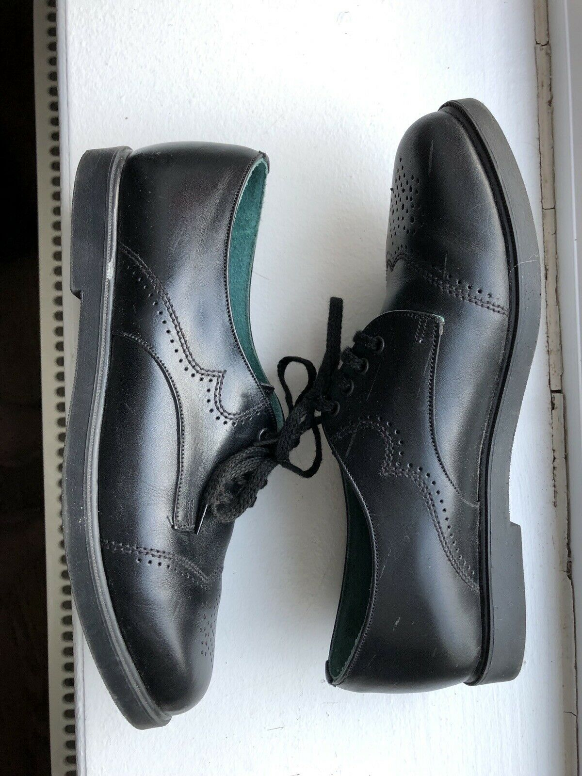 DOMANI Brogue Brogue Brogue Ladies shoes Hand Crafted Black Leather 4Uk 175c74