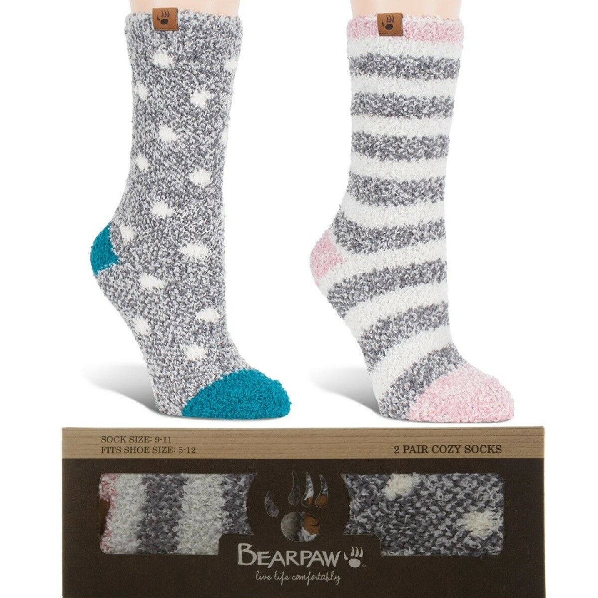 BEARPAW 2-pack Cozy Socks 520151-J w /& w//o Box