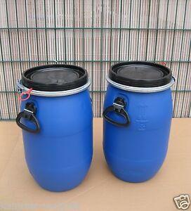 2-x-30-L-Kunststofffass-Deckelfass-Futtertonne-NEU-amp-UNBENUTZT