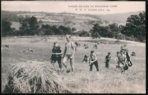 EVANS-CITY-PA-Brashear-Hikers-Return-to-Camp-Vintage-B-amp-W-Postcard-Early-Old-PC