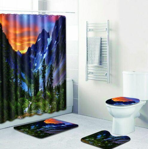 Mountain Rivers Waterproof Fabric Shower Curtain Waterfall Scenery Bathroom Rugs