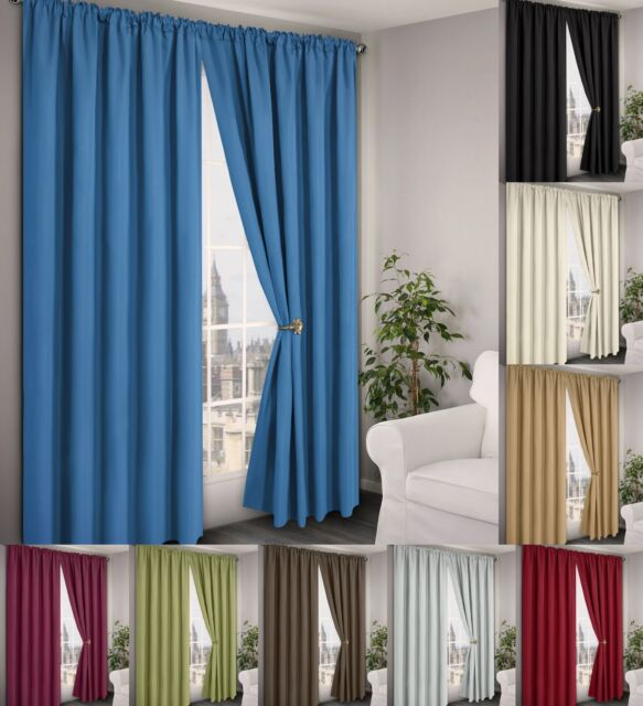 Thermal Light Reducing Curtains Pencil Pleat Tape Header Readymade Pair